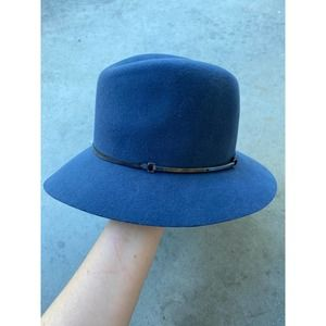 Janessa Leone Blue Wool Felt Hat Medium